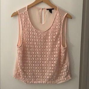 Forever 21 Pink sheer crochet tank